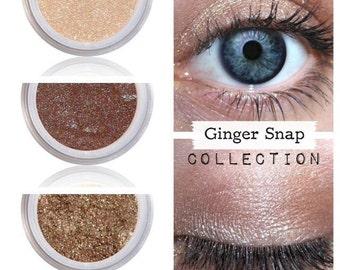 Clean Eye Shadow, Everyday Color, Vegan Cruelty Free, Natural Shimmer, No Crease Eyeshadow, Long Lasting Minerals, Shadow Kit, GINGER SNAP