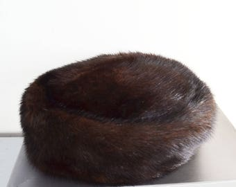 Womens brown mink hat
