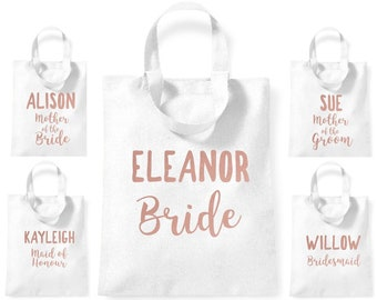 Custom Personalised Bride Bridesmaid Mother Bride Groom Maid of Honour Name Short Handled Lightweight Tote Bag Any NAME Hen Party Wedding