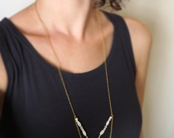 Gold boho necklace, statement necklace, boho chic necklace, bohemian necklace, 18K gold filled, seashell beads tribal necklace, beaded