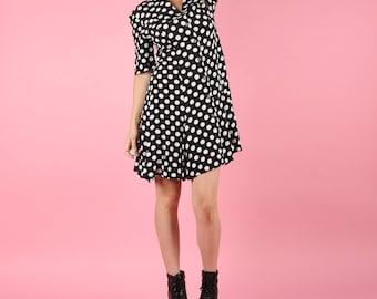 Sweet 80s Does 40s Vintage Polka Dot Dress