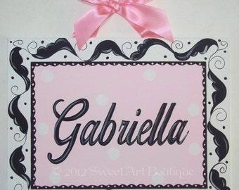 Pink, Black, Canvas name sign, Leaf, Flourish, Personalized, Nursery wall art, door sign, Pink Black nursery, Hand Painted, Custom wall art