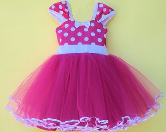 Minnie Mouse birthday outfit, MINNIE MOUSE dress, Minnie Mouse 1st Birthday outfit,  Pink Minnie Mouse dress,  Minnie Mouse costume, tutu