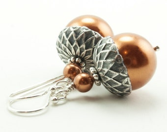 Acorn Earrings . Acorn Jewelry . Winter Wedding . Dangle Earrings