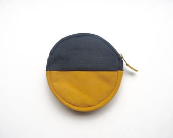 Makeup Bag / Organiser . Round Pouch /Stocking Filler / Small Leather Pouch