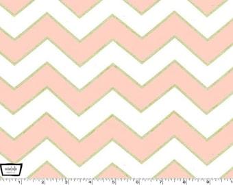 Glitz - Chic Chevron Pearlized Blush pink - 100% cotton print metallic from Michael Miller