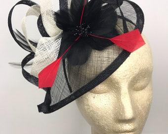 Fascinator, Black, white, red Fascinator, Black Hat, Womens Tea Party Hat, Church Hat, Derby Hat, Fancy Hat, Tea Party Hat, wedding hat, Bri