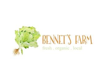 Pre-made logo design - Farm Logo, Branding Logo - Organic food logo - Premade Logo - Logo template design - Watercolor Logo - Watermark