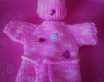 Hand knitted Barbie Clothes - Jumper & Hat with sequins