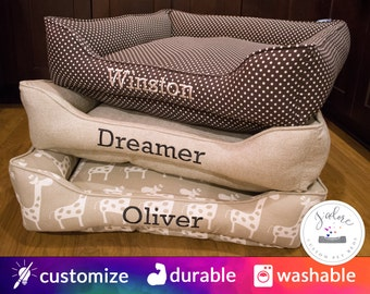 Designer Dog Beds with Name Embroidery - Your choice of 1 Fabric for the bed