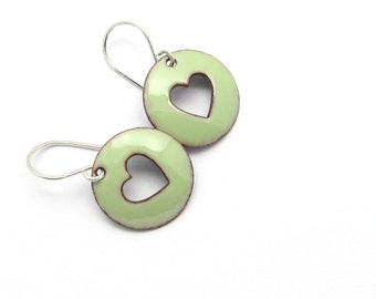 Green Heart Earrings with Sterling Silver Earwires - Pastel Enamel Jewelry - Birthday Gift for Sister
