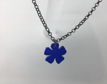 Small Flower blue Necklace. Laser cut from acrylic. by Emily M A Parkin