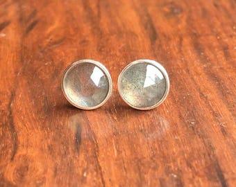 Sterling Silver Labradorite Earrings Rose Cut Labradorite Studs Labradorite Jewellery Gift For Her Womens Earrings Womens Jewellery STSE27