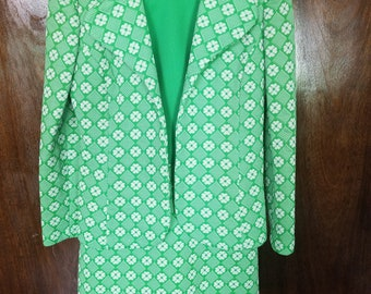 1960's Mini Dress with Jacket/ Two Piece Textured Floral Set/ Green Geometric Flowers Size S