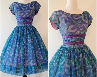 Vintage 1950's Watercolour Fit and Flare Dress | 1950's Monet-esque Dress | Vintage 1950's Dress |