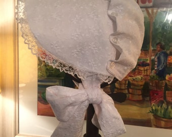 Eyelet Lace Button and Ruffle Bonnet with monogramming, sizes XS, S, M, L