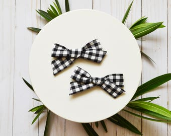 Black and White Gingham Check Simple Classic Hand tied Fabric Bow Nylon or Clip