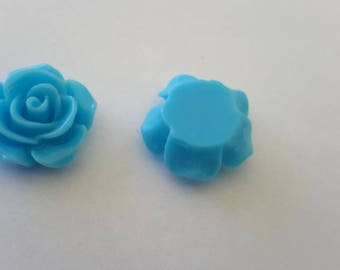 resin flower blue color for your creations 14x6mm