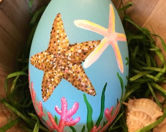 Easter Egg - Hand painted Sea Stars - Starfish - Coastal Spring Decor