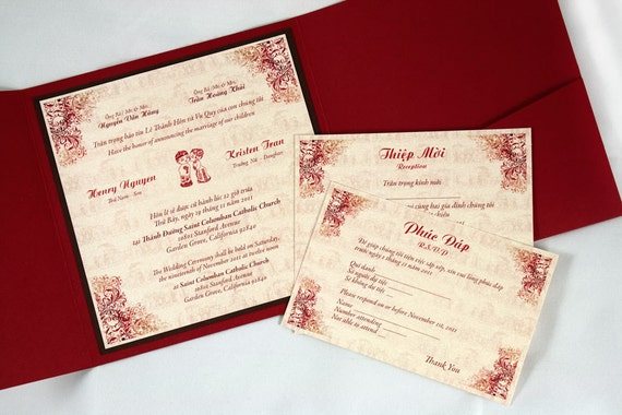 Bilingual English And Vietnamese Tradition Wedding Invitations