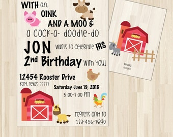 Farm Birthday Invitation, Farm Birthday Party, Barn Invitations, Barn Birthday Party, Barn Birthday Invitation