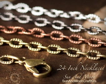 5 ~ Textured Etched Chain Oval Link Necklaces ~ 24 Inch Lengths ~ Mix and Match ~