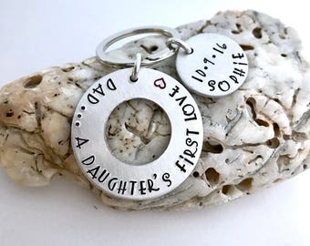 Dad key chain-daughter's first love- Father's Day gift- husband gift- new dad gift- gifts for him- dad- gift-daddy's girl