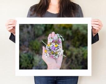 Wildflowers photography print, wildflower print. Greek floral arrangement art, Kefalonia Greece photograph. Mediterranean plants artwork