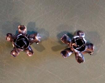 Vintage Sterling silver Rosette clip on earrings