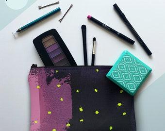 printmaker's pouch, pochette, zipper pouch, clutch, makeup bag, toiletry bag, travel bag, purse, screen print, gift idea, navy, purple, pink