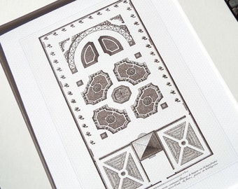 French Garden Geometric Plan 5 In Sepia Archival Print on Watercolor Paper