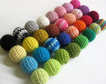 Crocheted beads 20mm or 18mm, 100pc handmade round choose Your colors