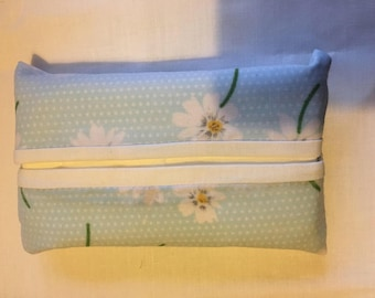 Handmade pocket tissue holder, blue and white flowery cotton fabric, tissue holder,