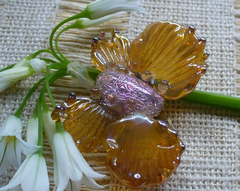 lampwork/beads/sra lampwork/beads/glass beads/ dichroic/moth/insect/golden/handmade/Double Helix/lavender/wings