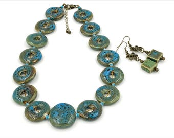 Free Shipping,Blue and Green Ceramic Necklace,ceramic beaded necklace,vintage blue necklace,chunky statement necklace,ceramic jewelry