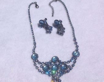 Vintage inspired blue moonglow necklace set