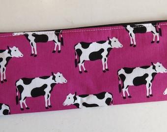 Cow pencil case - cow print pouch