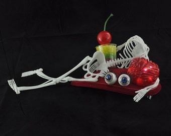Light-up Halloween Fascinator, Skeleton headpiece, Zombie fancy dress, Macarbre hat, Red Halloween fancy dress, Brain fascinator
