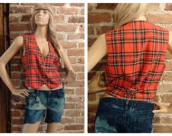 Vintage 80's Red Rocker Tartan Plaid Vest Sleeveless top Size Small