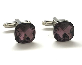 Big Purple Diamond Cut Crystal Cufflinks Silver Tone Post with Bullet Backing Cuff Links Comes with Gift Box