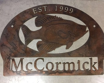 """30"""" Personalized, metal sign with Crappie fish"""