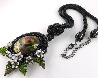 Necklace, Bead Embroidery, pendant, resin