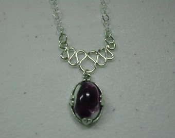 Opal Necklace - Mexican Purple Opal & Sterling Silver Necklace