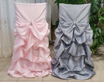 Ruffled Wedding Chair Covers Bustled, Fancy Chair Covers Bustled, Ruched Chair Covers