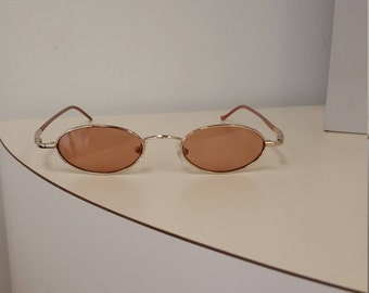 1990s Gold Sunglasses w/ Amber Lenses; Ready to Wear; Excellent Condition; Ophthalmic Quality Frame (Lenses could be changed to Rx).