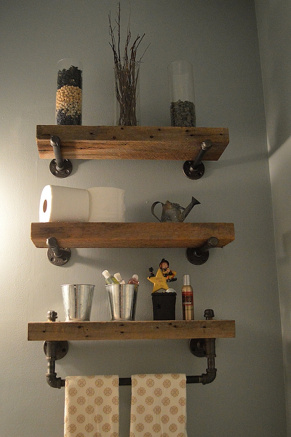 Beautiful Reclaimed Barn Wood Bathroom Shelves FB03
