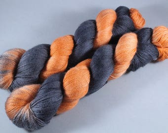 Hand Dyed Lace Merino/Silk Yarn - Pumpkin Knight