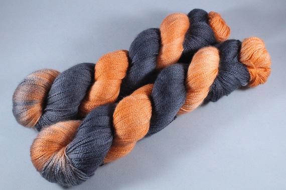 SALE ITEM Hand Dyed Lace Merino/Silk Yarn - Pumpkin Knight