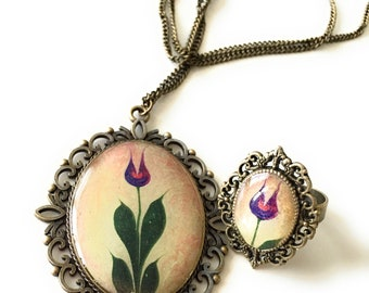 Water Marbling Tulip Necklace and Ring Set
