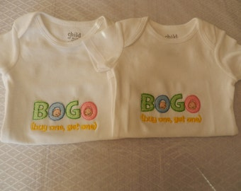 2 Embroidered Twins Onesies - BOGO (Buy One, Get One) -  sizes newborn - 24 months